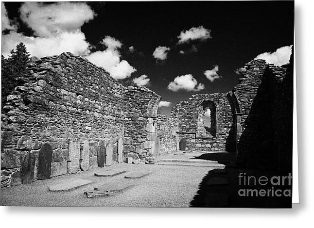 Significance Greeting Cards - Ruins Ruined Remains And Gravestones Inside The Cathedral At Glendalough Monastic Site Greeting Card by Joe Fox