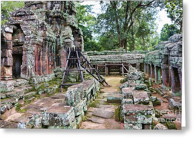 Tree Roots Greeting Cards - Ruins Ta Prohm Greeting Card by Chuck Kuhn