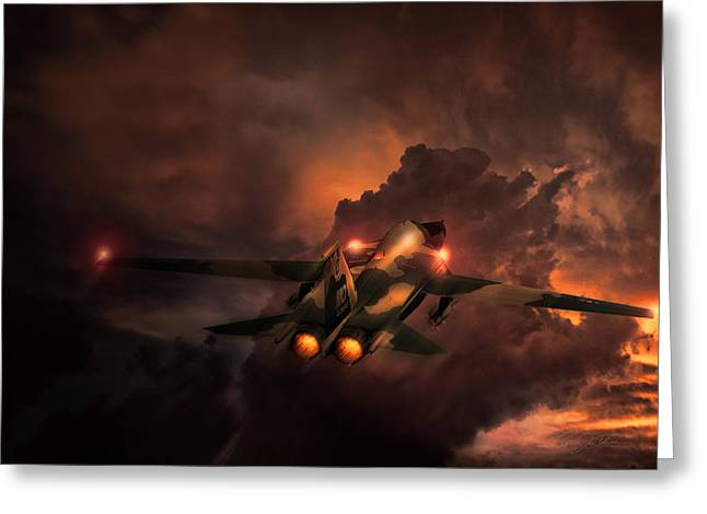 Interceptor Greeting Cards - Rule The Night F-111 Greeting Card by Peter Chilelli