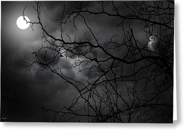 Owl Decor Greeting Cards - Ruler Of The Night Greeting Card by Lourry Legarde