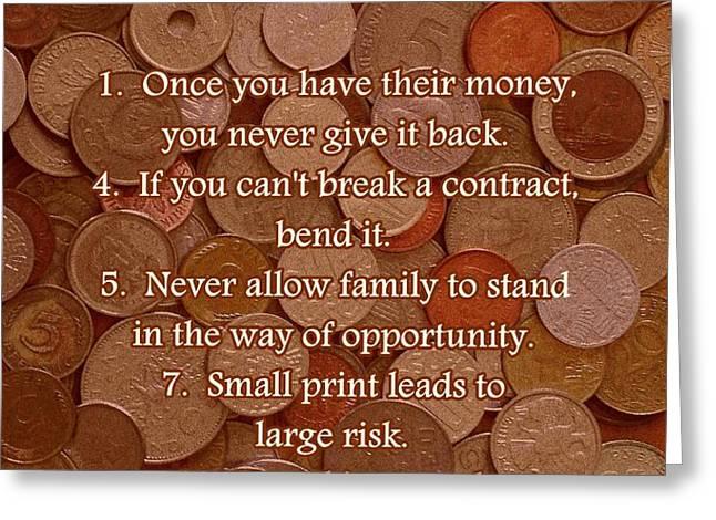 Rules of Acquisition - Part 1 Greeting Card by Anastasiya Malakhova