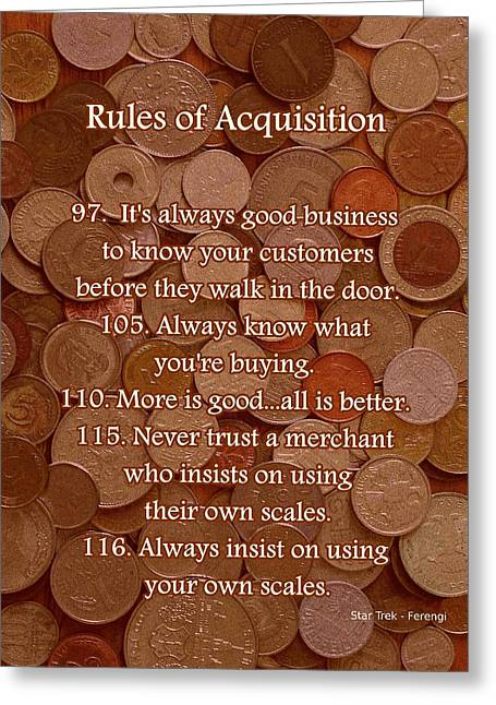 Money Quotes Greeting Cards - Rules of Acquisition - Part 4 Greeting Card by Anastasiya Malakhova