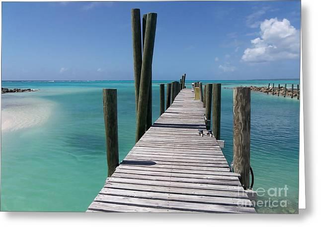 Rum Cay Marina Jetty In Bahamas Greeting Card by Jola Martysz