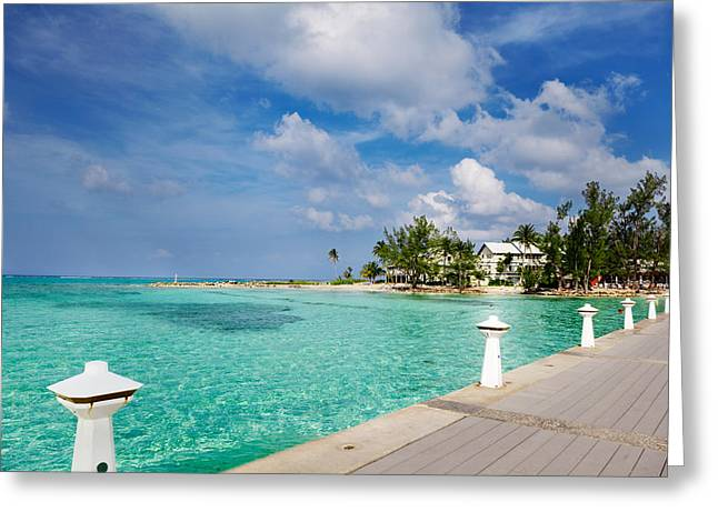 Cayman Houses Greeting Cards - Rum Point dock Greeting Card by Jo Ann Snover