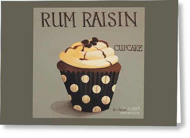 Raisin Greeting Cards - Rum Raisin Cupcake Greeting Card by Catherine Holman