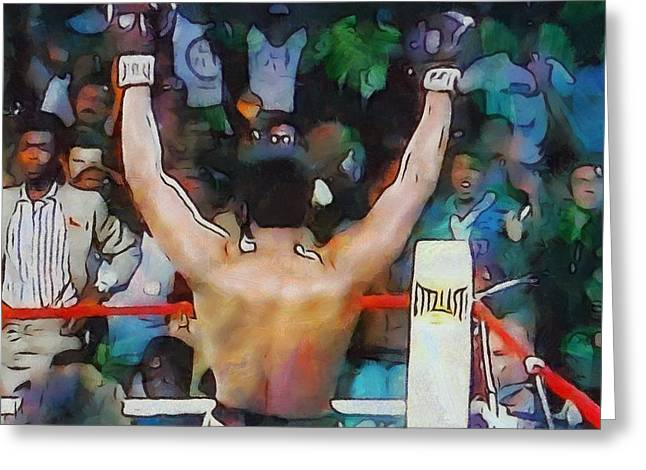 Win Paintings Greeting Cards - Rumble In The Jungle Ali Wins Greeting Card by Dan Sproul