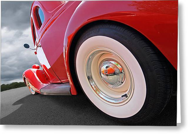 Ford Hotrod Greeting Cards - Rumblefest Red - Ford Coupe Greeting Card by Gill Billington