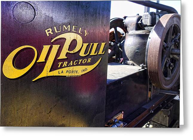 Belt Driven Greeting Cards - Rumely Oil Pull Tractor Greeting Card by Daniel Hagerman