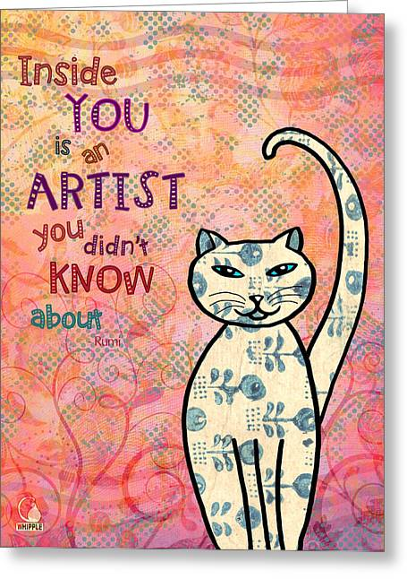 Inside You Greeting Cards - Rumi Cat Artist Greeting Card by Cat Whipple