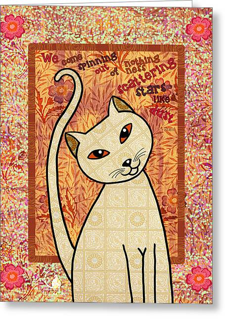 Drawings Of Cats Greeting Cards - Rumi Cat Stars Greeting Card by Cat Whipple