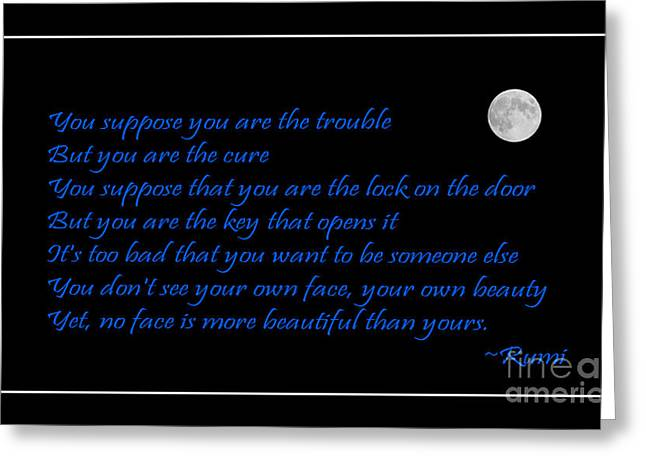 Be Yourself Greeting Cards - Rumi Quote - Beauty - Loving You Greeting Card by Barbara Griffin
