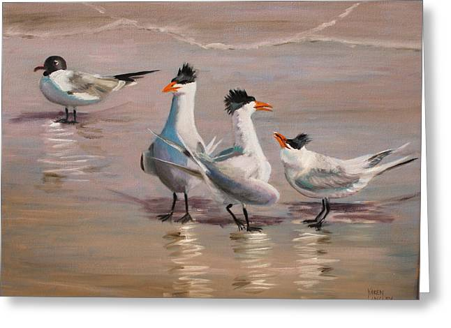 Tern Paintings Greeting Cards - Rumor Has It Greeting Card by Karen Langley