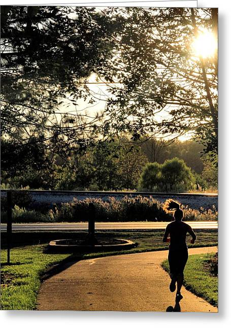 Jogging Photographs Greeting Cards - Run Greeting Card by Dan Sproul