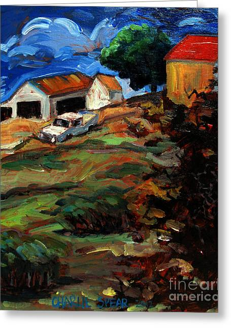 Run Down Paintings Greeting Cards - Run Down And Over Grown Greeting Card by Charlie Spear