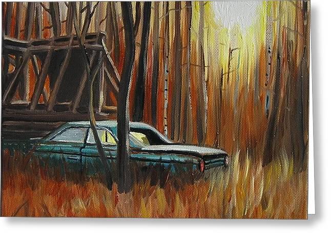 Kingston Paintings Greeting Cards - Run down car Run down building Greeting Card by Scott White