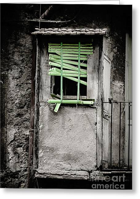 Venetian Blinds Greeting Cards - Run down part of building in Lazio with broken venetian blind at Greeting Card by Peter Noyce