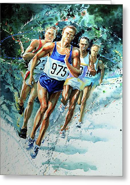 Sports Artist Greeting Cards - Run For Gold Greeting Card by Hanne Lore Koehler