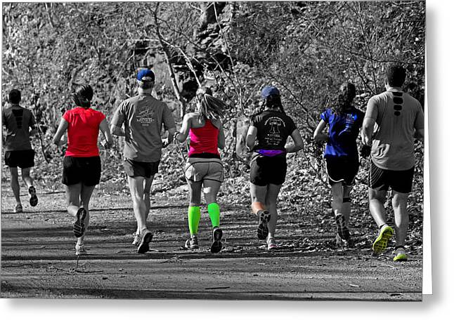 Runner Greeting Cards - Run in the Park Greeting Card by Tom Gari Gallery-Three-Photography