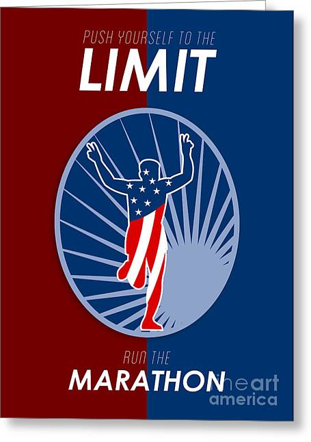 Jogging Greeting Cards - Run Marathon Push Limits Retro Poster Greeting Card by Aloysius Patrimonio