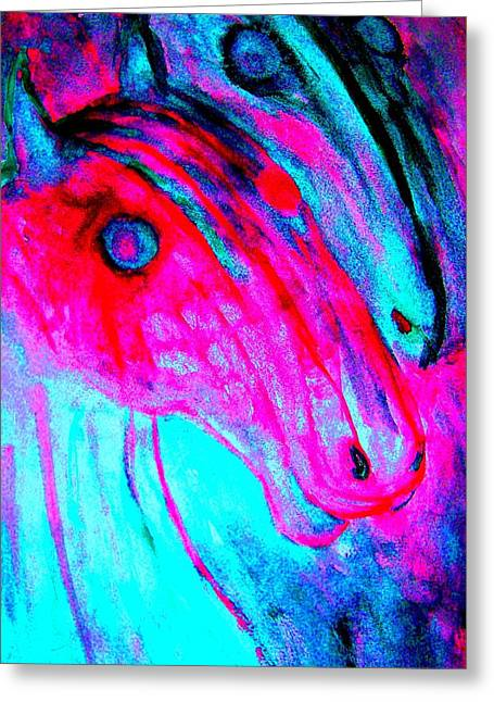 Sweating Paintings Greeting Cards - Run off with the hulder horses Greeting Card by Hilde Widerberg