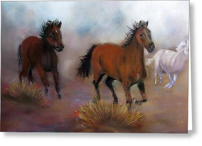 Dust Pastels Greeting Cards - Run Wild Run Free Greeting Card by Loretta Luglio