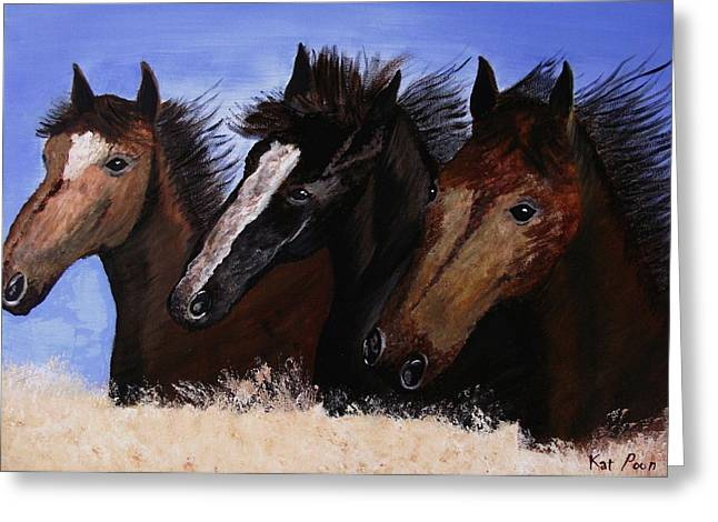 Race Horse Greeting Cards - Run With Endurance Greeting Card by Kat Poon