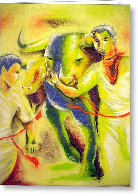 Event Pastels Greeting Cards - Run with the bulls Greeting Card by Michael Alvarez