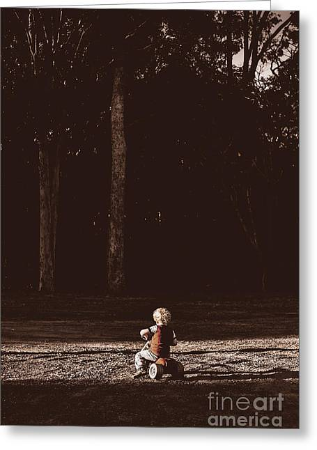 Gravel Road Greeting Cards - Runaway child riding tricycle at old dark forest Greeting Card by Ryan Jorgensen