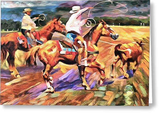 Working Cowboy Greeting Cards - Runaway Greeting Card by Studio Artist