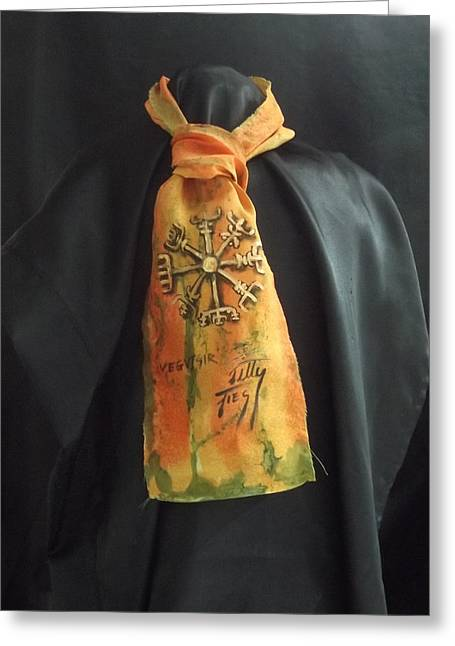 Wine Tapestries - Textiles Greeting Cards - Rune cravat  Greeting Card by Ti Campbell-Allen