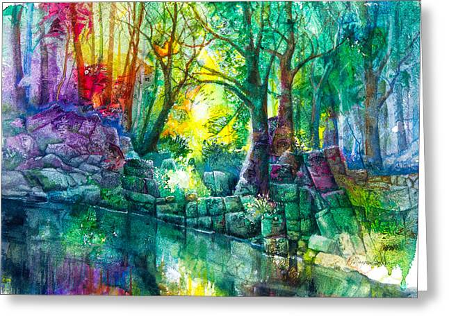 Runes By The Stream Greeting Card by Patricia Allingham Carlson