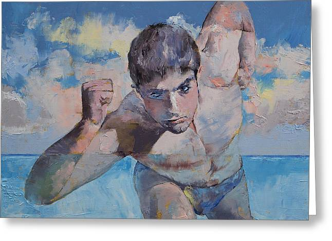 Runner Greeting Cards - Runner Greeting Card by Michael Creese