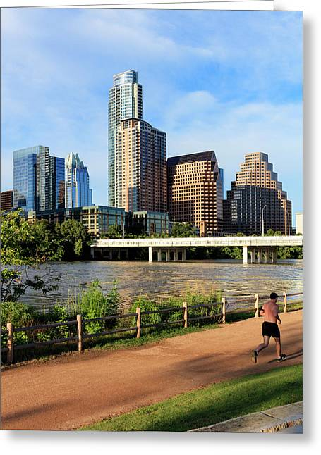 Runner On Path Along South Shore Greeting Card by Panoramic Images