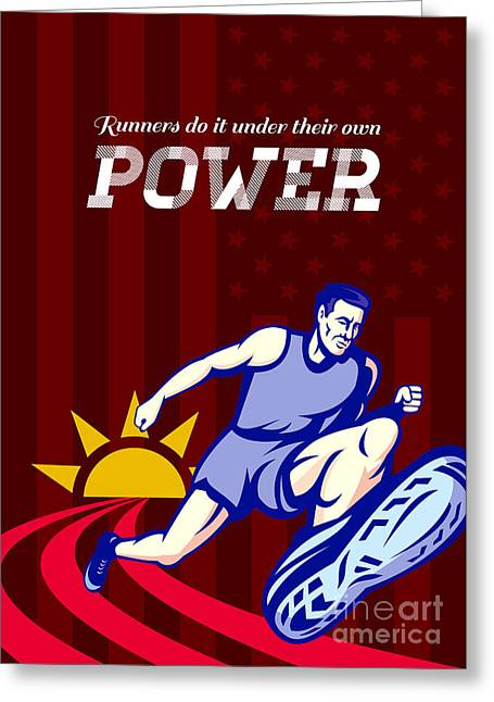 Runner Running Power Poster Greeting Card by Aloysius Patrimonio