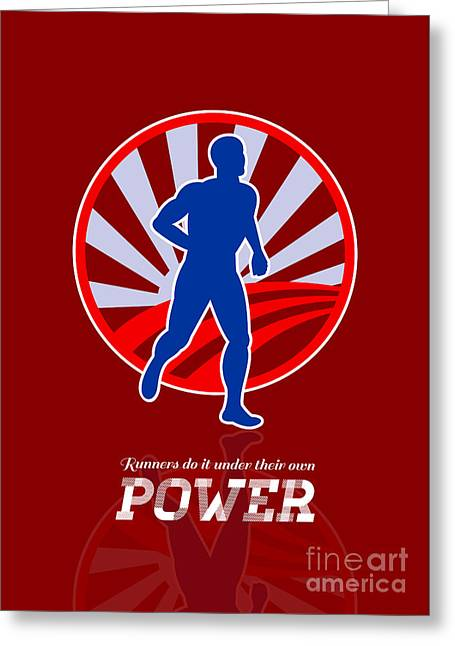 Jogging Greeting Cards - Runner Running Power Retro Poster Greeting Card by Aloysius Patrimonio