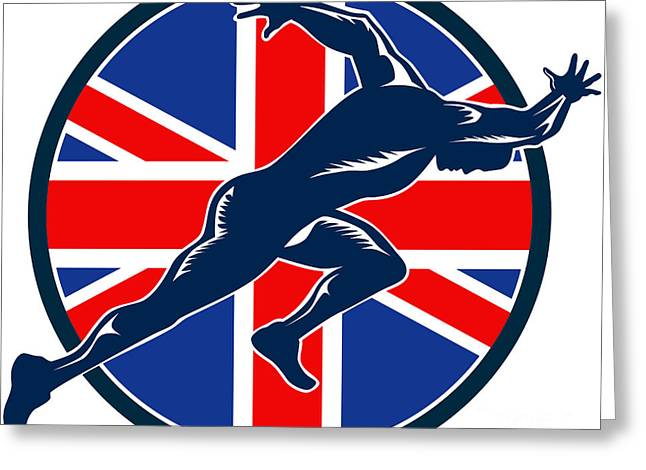 Runner Sprinter Start British Flag Circle Greeting Card by Aloysius Patrimonio