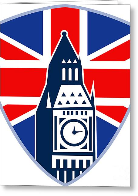 Runner Sprinter Start British Flag Shield Greeting Card by Aloysius Patrimonio