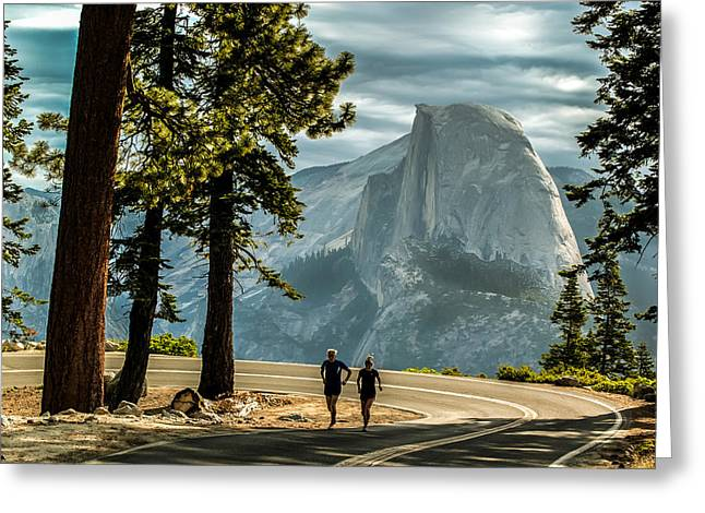 Runner Greeting Cards - Runners at Half Dome Greeting Card by Mike McGreevy