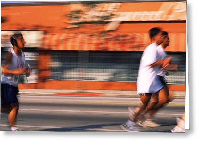 Street Race Greeting Cards - Runners Competing In 10k Race Greeting Card by Panoramic Images