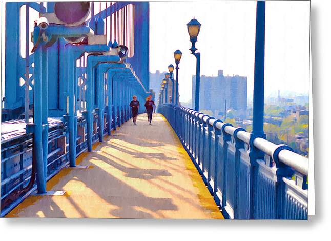 Jogging Greeting Cards - Running Across the Ben Greeting Card by Bill Cannon