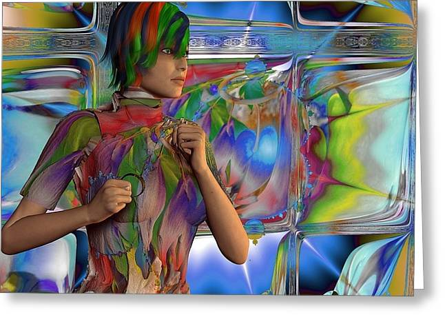 Coloured Greeting Cards - Running Amongst Fractals Greeting Card by Nancy Pauling