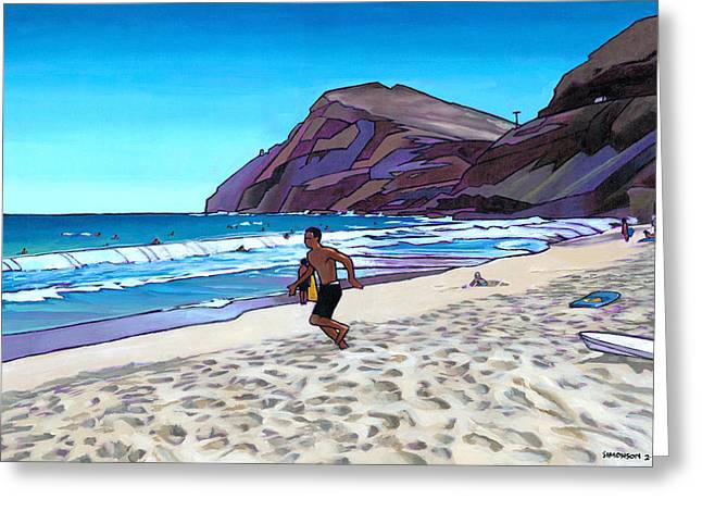 Running at Makapuu Greeting Card by Douglas Simonson