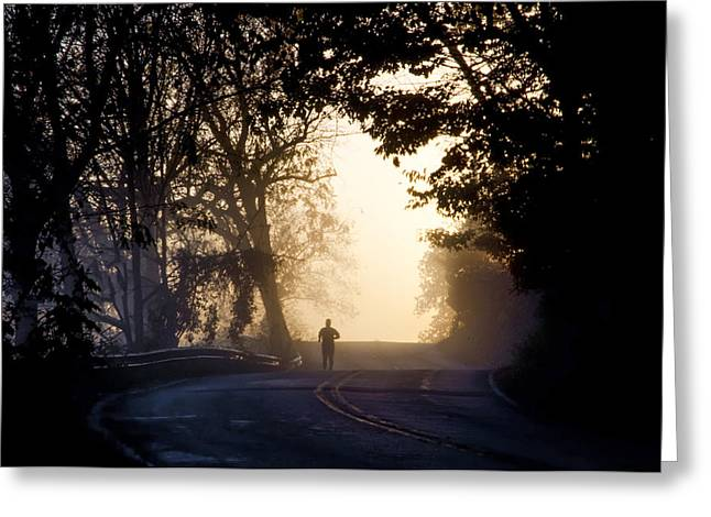 Jogging Greeting Cards - Running at Sunrise - Valley Forge Greeting Card by Bill Cannon