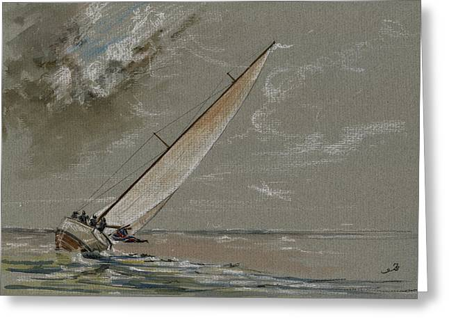 Storm Art Greeting Cards - Running away from the storm Greeting Card by Juan  Bosco