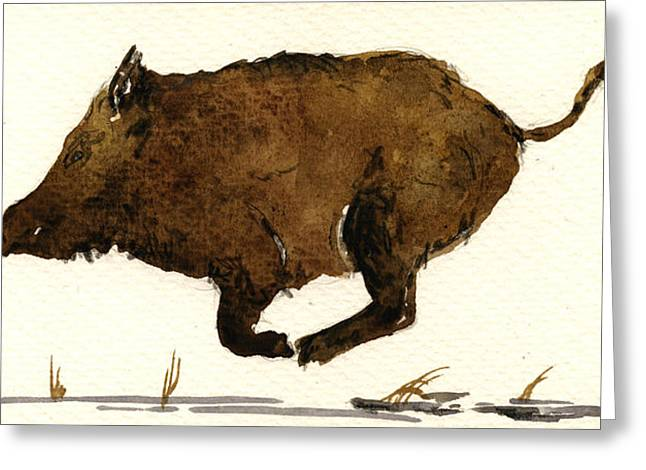 Boars Greeting Cards - Running boar Greeting Card by Juan  Bosco