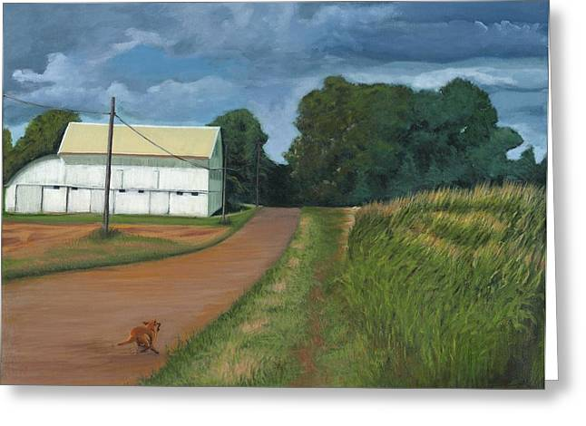Turbulent Blue Skies Paintings Greeting Cards - Running Dog Greeting Card by Ken Messinger-Rapport