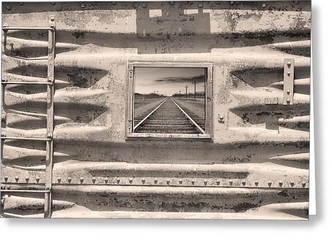 Black And White Train Track Prints Greeting Cards - Running Down The Line Sepia Greeting Card by James BO  Insogna