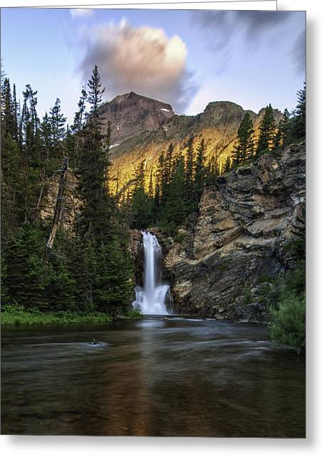 Running Eagle Falls - Luminous Light On Rising Wolf Greeting Card by Thomas Schoeller