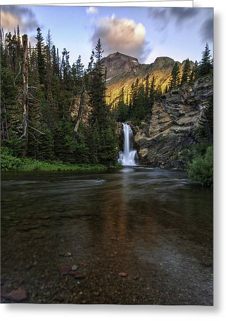 Wolf Creek Greeting Cards - Running Eagle Falls - Luminous Light on Rising Wolf Greeting Card by Thomas Schoeller