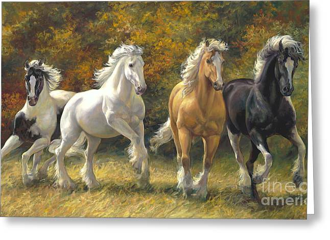 Draft Horse Greeting Cards - Running Free Greeting Card by Laurie Hein